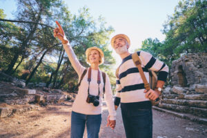 retired couple sightseeing